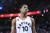 DeMar DeRozan of the Toronto Raptors reacts during the second half against the Cleveland Cavaliers in game three of the Eastern Conference Finals...