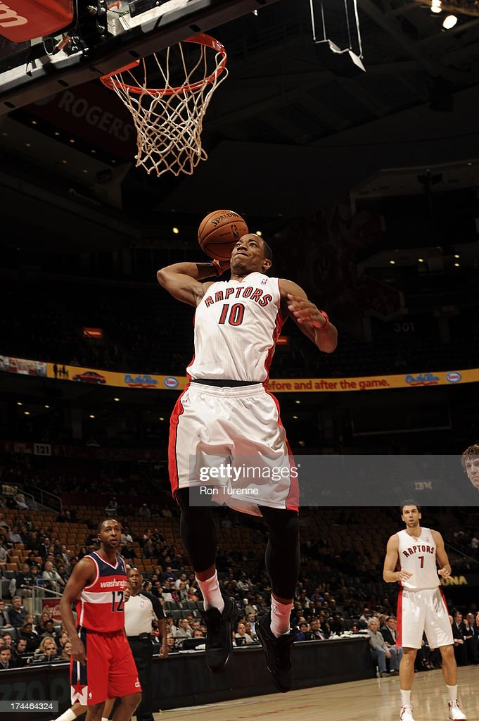 DeMar DeRozan #10 of the Toronto Raptors rises for a dunk against the Washington Wizards during a pre-season game on October 17, 2012 at the Air Canada Centre in Toronto, Ontario, Canada.