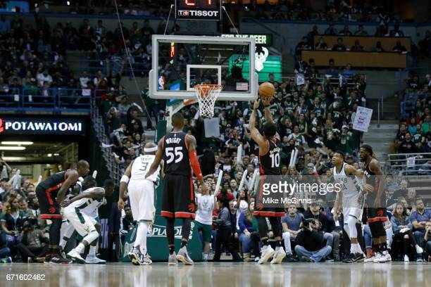 DeMar DeRozan of the Toronto Raptors shoots a free throw during the first half against the Milwaukee Bucks of Game Four of the Eastern Conference...