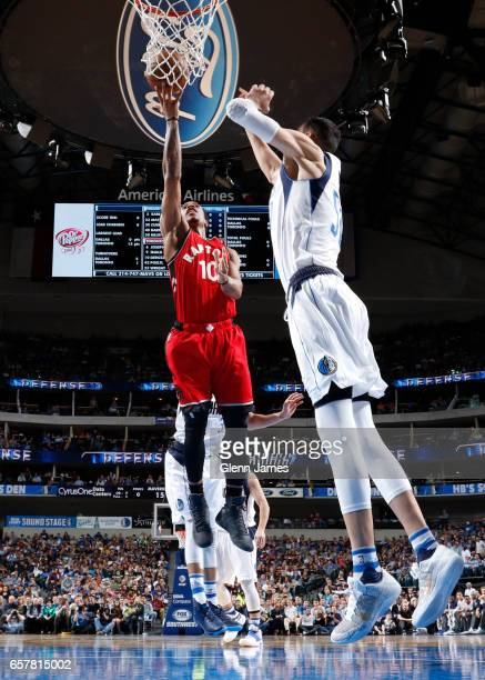 DeMar DeRozan of the Toronto Raptors shoots a lay up against the Dallas Mavericks on March 25 2017 at the American Airlines Center in Dallas Texas...