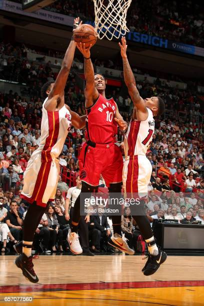 DeMar DeRozan of the Toronto Raptors shoots a lay up during the game against the Miami Heat on March 23 2017 at AmericanAirlines Arena in Miami...