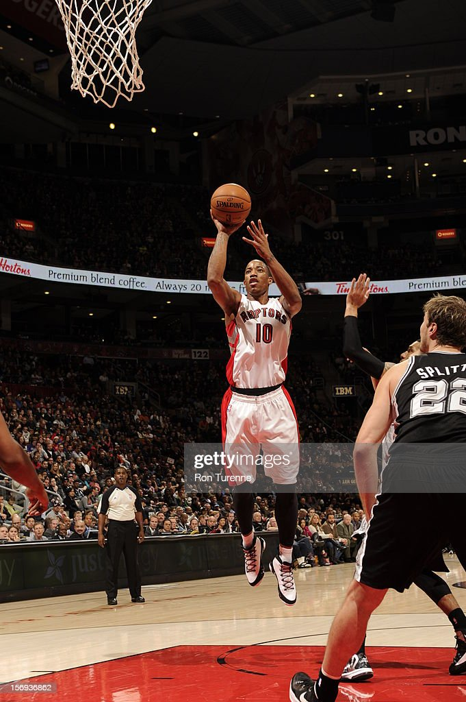 DeMar DeRozan #10 of the Toronto Raptors shoots a short jumpshot vs the San Antonio Spurs during the game on November 25, 2012 at the Air Canada Centre in Toronto, Ontario, Canada.