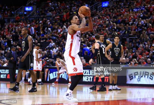 DeMar DeRozan of the Toronto Raptors shoots a technical in the second half of Game One of the Eastern Conference Quarterfinals against the Milwaukee...
