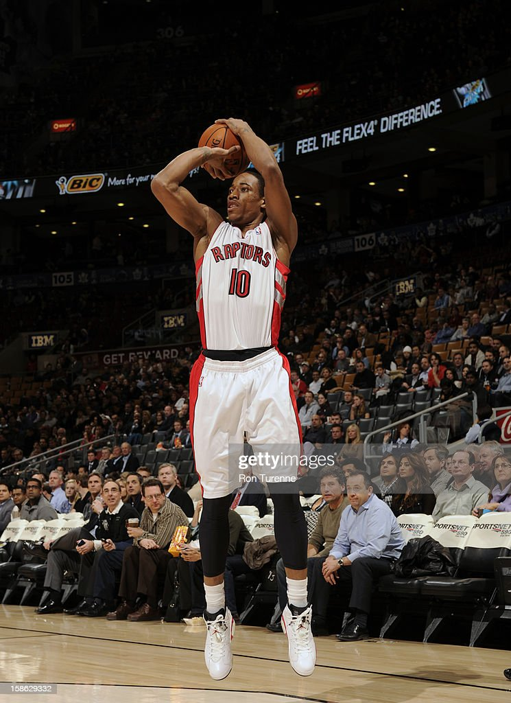 DeMar DeRozan #10 of the Toronto Raptors shoots against the Brooklyn Nets on December 12, 2012 at the Air Canada Centre in Toronto, Ontario, Canada.