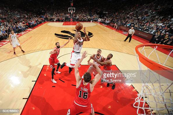 DeMar DeRozan of the Toronto Raptors shoots against the Chicago Bulls during the game on January 3 2016 at Air Canada Centre in Toronto Canada NOTE...