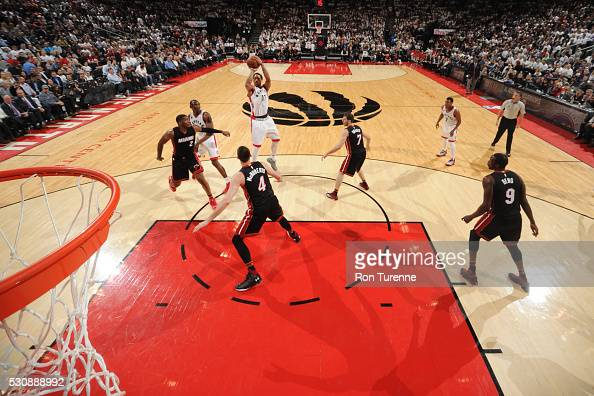 DeMar DeRozan of the Toronto Raptors shoots against the Miami Heat during Game Five of the Eastern Conference Semifinals during the 2016 NBA Playoffs...