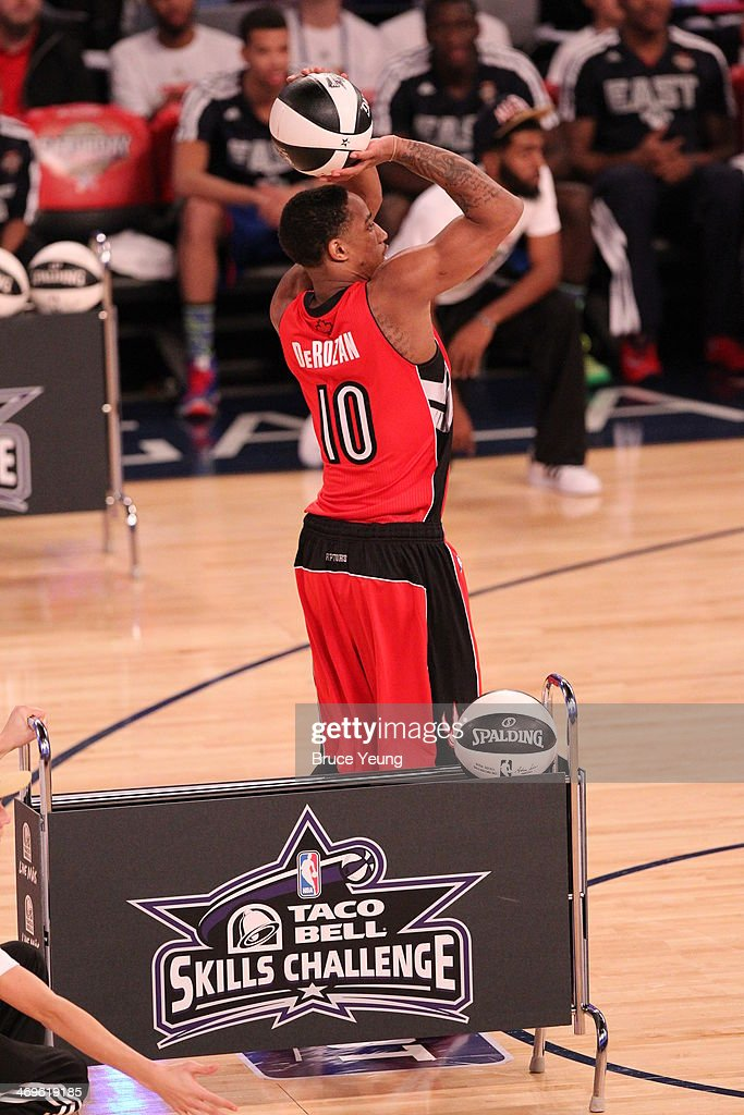 DeMar DeRozan #10 of the Toronto Raptors shoots during the Sears Shooting Stars Competition on State Farm All-Star Saturday Night as part of the 2014 All-Star Weekend at Smoothie King Center on February 15, 2014 in New Orleans, Louisiana.