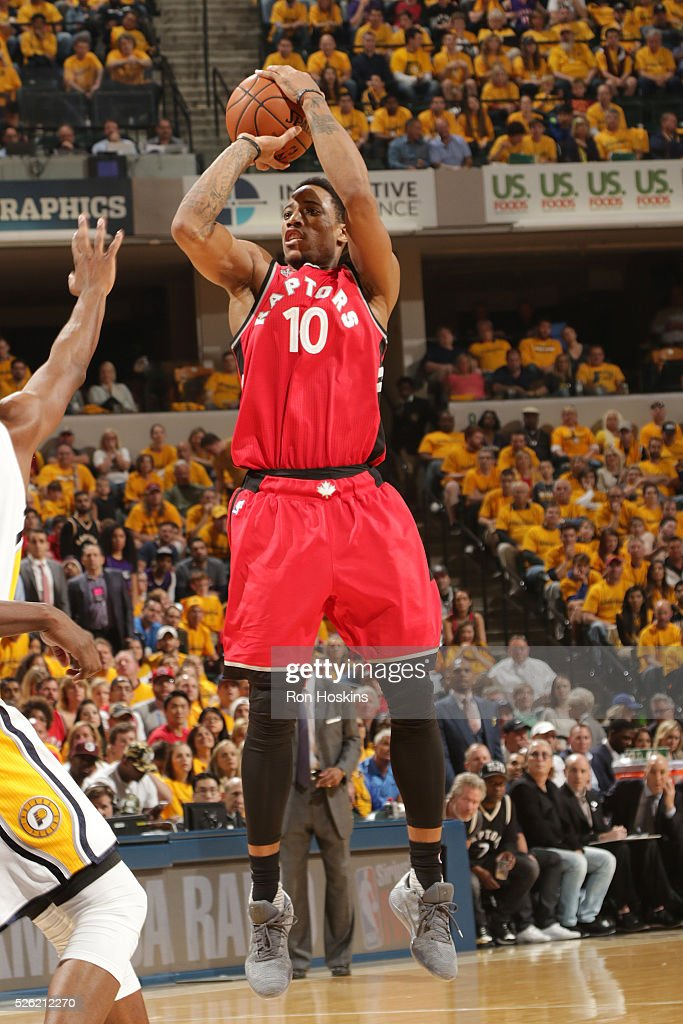 DeMar DeRozan #10 of the Toronto Raptors shoots the ball against the Indiana Pacers in Game Six of the Eastern Conference Quarterfinals during the 2016 NBA Playoffs on April 29, 2016 at Bankers Life Fieldhouse in Indianapolis, Indiana.