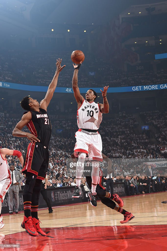 DeMar DeRozan #10 of the Toronto Raptors shoots the ball against the Miami Heat in Game Two of the Eastern Conference Semifinals on May 5, 2016 at the Air Canada Centre in Toronto, Ontario, Canada.