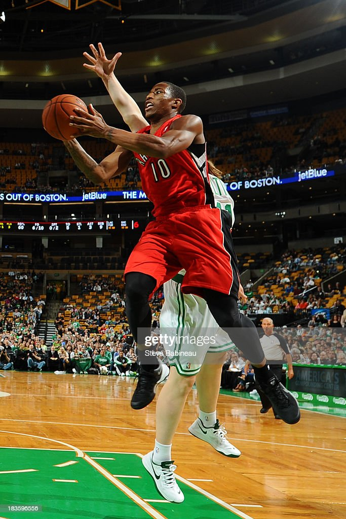DeMar DeRozan #10 of the Toronto Raptors shoots the ball against the Boston Celtics on October 7, 2013 at the TD Garden in Boston, Massachusetts.