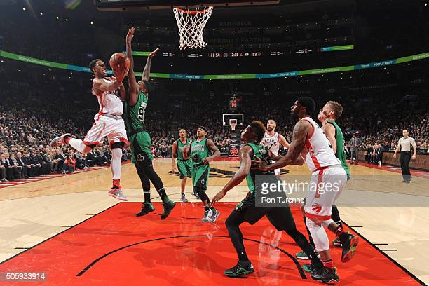 DeMar DeRozan of the Toronto Raptors shoots the ball against the Boston Celtics on January 20 2016 at the Air Canada Centre in Toronto Ontario Canada...