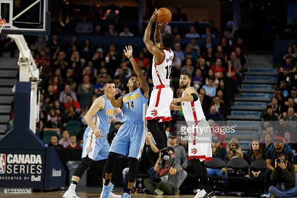 DeMar DeRozan of the Toronto Raptors shoots the ball against the Denver Nuggets on October 3 2016 at the Scotiabank Saddledome in Calagary Alberta...