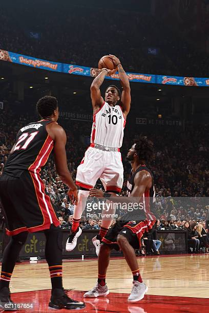 DeMar DeRozan of the Toronto Raptors shoots the ball against the Miami Heat on November 4 2016 at the Air Canada Centre in Toronto Ontario Canada...
