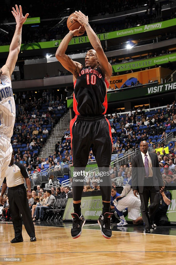 DeMar DeRozan #10 of the Toronto Raptors shoots the ball against the Orlando Magic during the game on January 24, 2013 at Amway Center in Orlando, Florida.