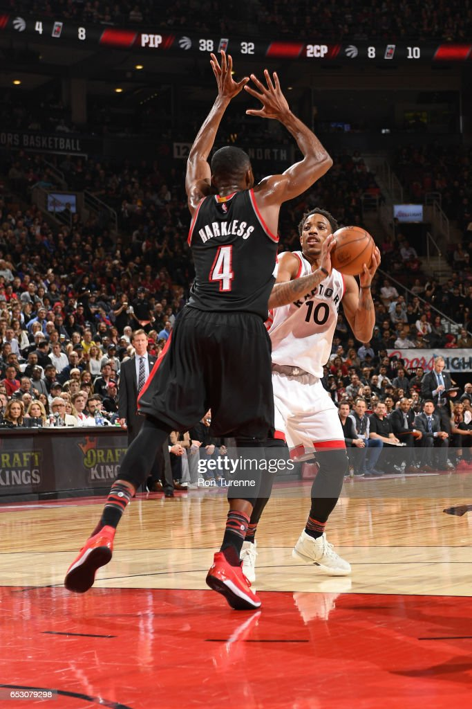 DeMar DeRozan #10 of the Toronto Raptors shoots the ball against the Portland Trail Blazers on February 26, 2017 at the Air Canada Centre in Toronto, Ontario, Canada.
