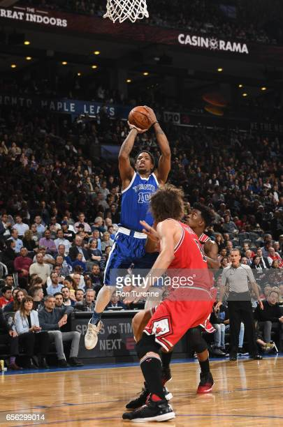 DeMar DeRozan of the Toronto Raptors shoots the ball against the Chicago Bulls during the game on March 21 2017 at the Air Canada Centre in Toronto...