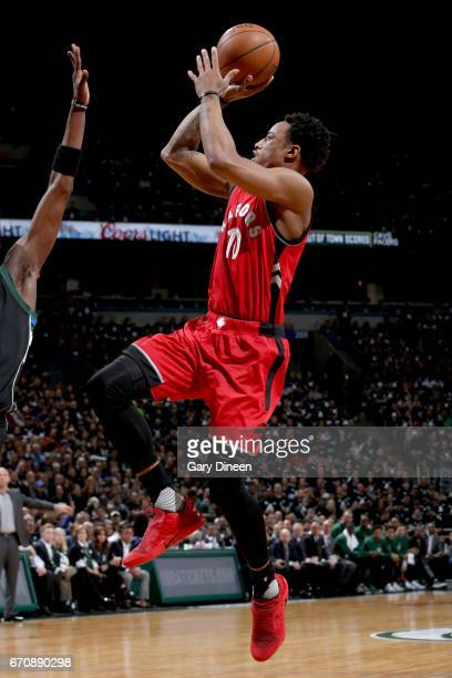 DeMar DeRozan of the Toronto Raptors shoots the ball against the Milwaukee Bucks during Game Three of the Eastern Conference Quarterfinals of the...