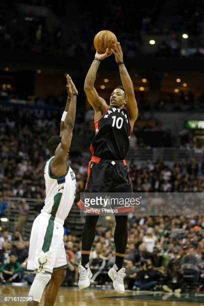 DeMar DeRozan of the Toronto Raptors shoots the ball against the Milwaukee Bucks during Game Four of the Eastern Conference Quarterfinals of the 2017...
