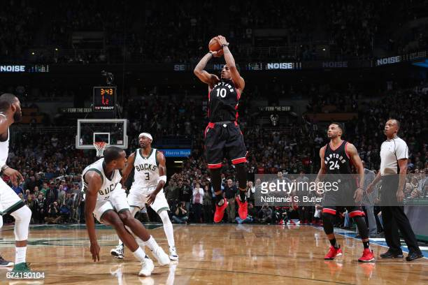 DeMar DeRozan of the Toronto Raptors shoots the ball against the Milwaukee Bucks during Game Six of the Eastern Conference Quarterfinals of the 2017...