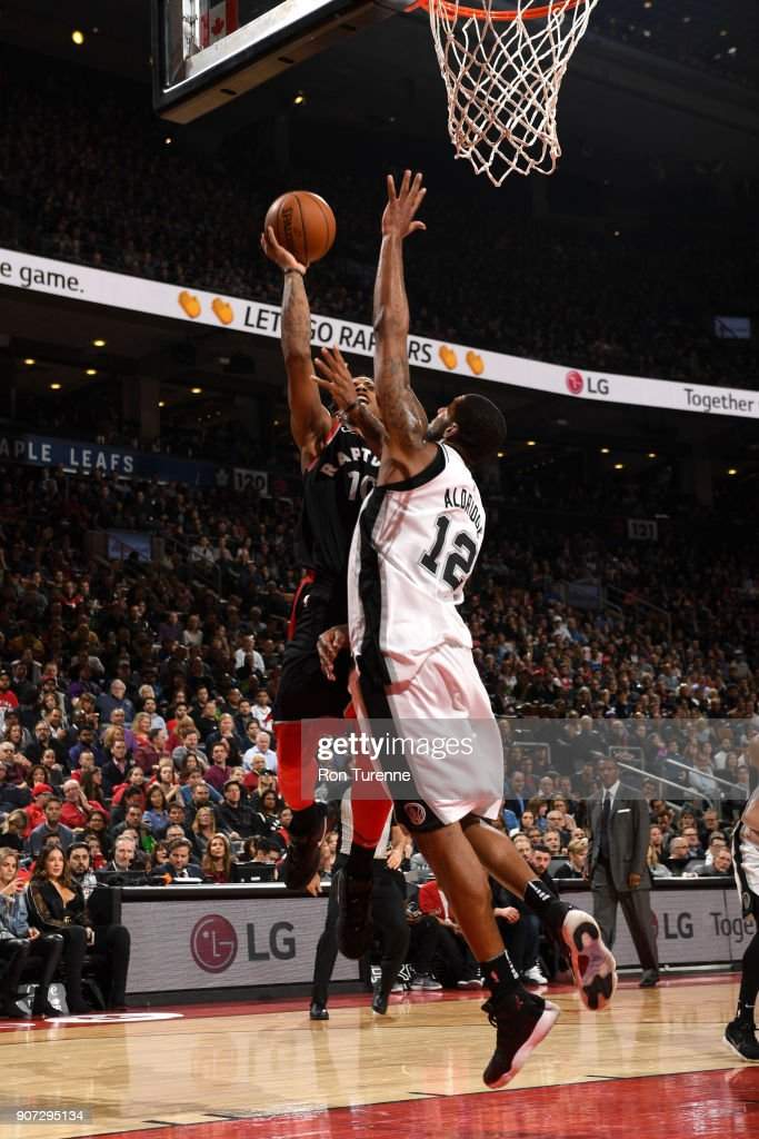 DeMar DeRozan #10 of the Toronto Raptors shoots the ball against the San Antonio Spurs on December 5, 2017 at the Air Canada Centre in Toronto, Ontario, Canada.