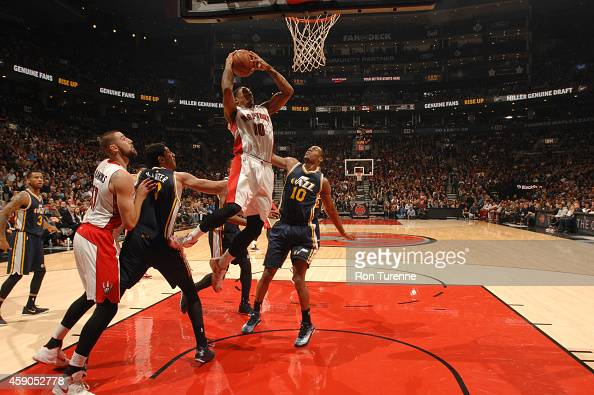 DeMar DeRozan of the Toronto Raptors shoots the ball against the Utah Jazz during the game on November 15 2014 at the Air Canada Centre in Toronto...
