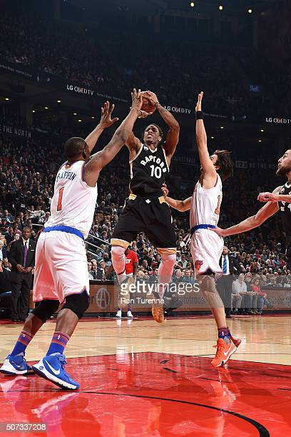 DeMar DeRozan of the Toronto Raptors shoots the ball during the game against the New York Knicks on January 28 2016 at the Air Canada Centre in...