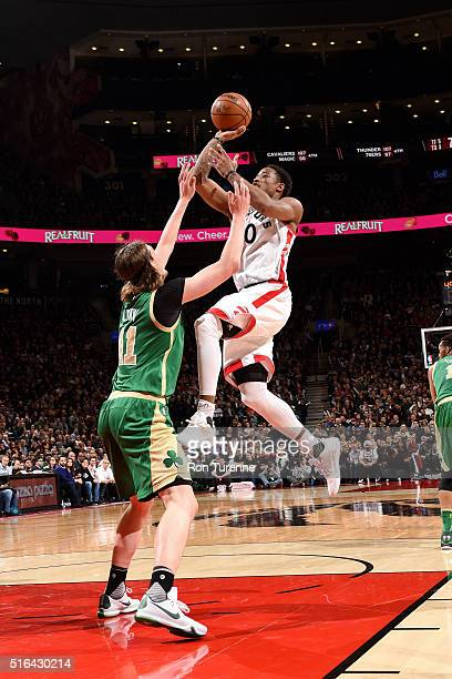 DeMar DeRozan of the Toronto Raptors shoots the ball during the game against the Boston Celtics on March 18 2016 at the Air Canada Centre in Toronto...
