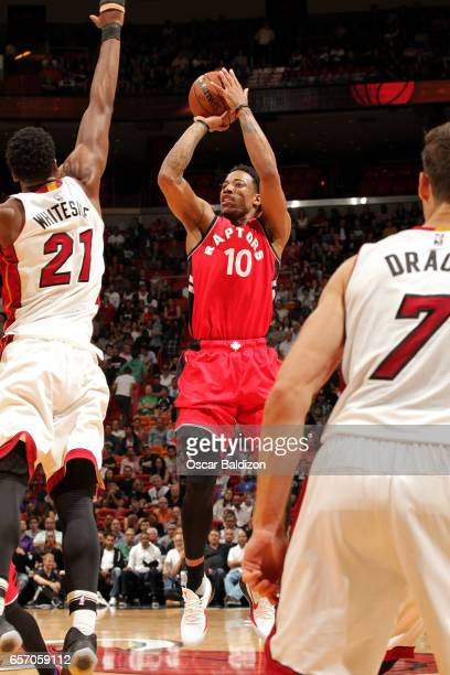 DeMar DeRozan of the Toronto Raptors shoots the ball during the game against the MMiami Heat on March 23 2017 at AmericanAirlines Arena in Miami...