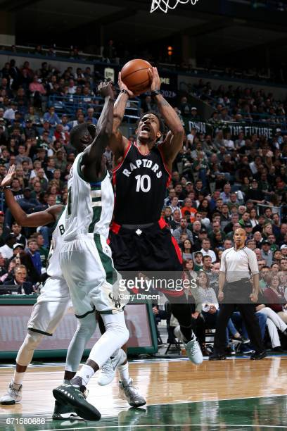 DeMar DeRozan of the Toronto Raptors shoots the ball during the game against the Milwaukee Bucks in Game Four during the Eastern Conference...