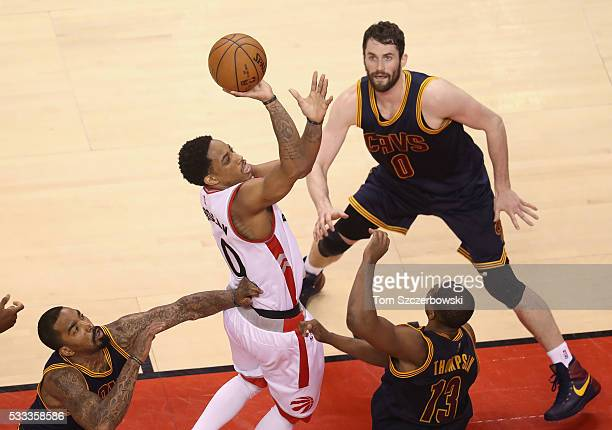 DeMar DeRozan of the Toronto Raptors shoots the ball during the second half against the Cleveland Cavaliers in game three of the Eastern Conference...