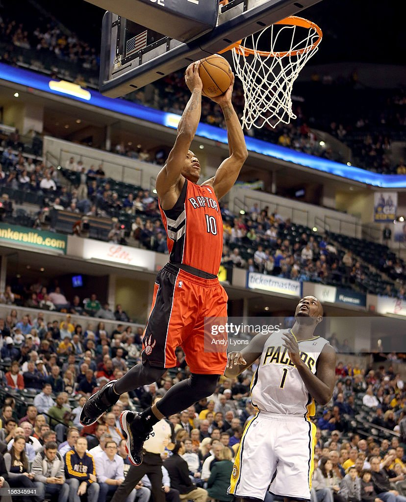 DeMar DeRozan #10 of the Toronto Raptors shoots the ball during the NBA game against the Indiana Pacersat Bankers Life Fieldhouse on November 13, 2012 in Indianapolis, Indiana.