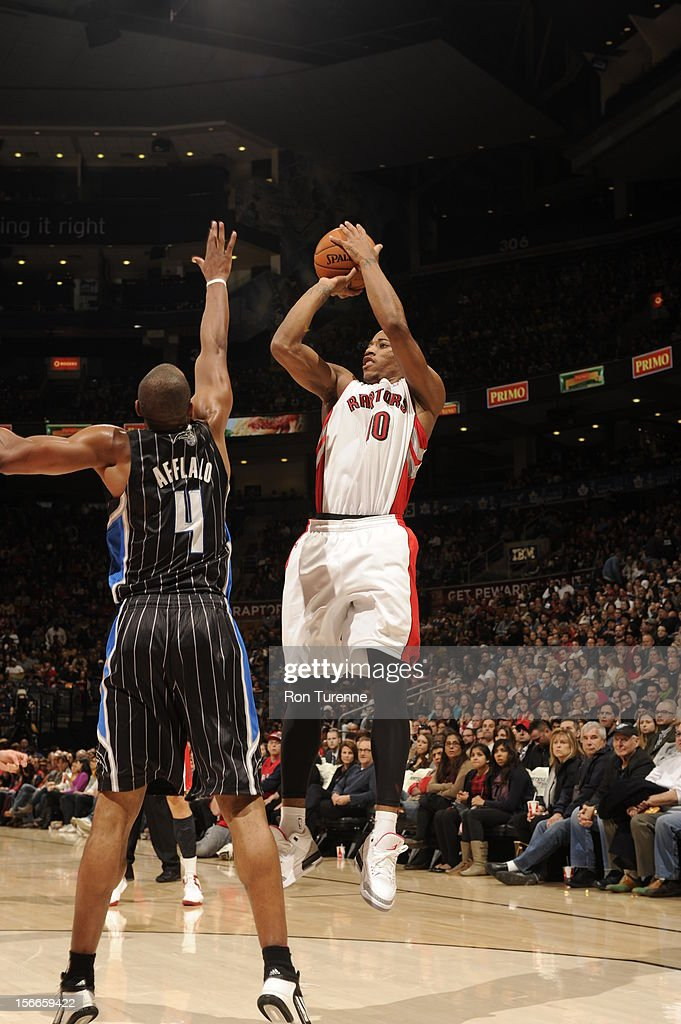 DeMar DeRozan #10 of the Toronto Raptors shoots the ball vs the Orlando Magic during the game on November 18, 2012 at the Air Canada Centre in Toronto, Ontario, Canada.