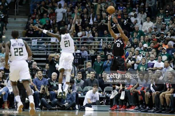 DeMar DeRozan of the Toronto Raptors shots a jumper with Tony Snell of the Milwaukee Bucks defending during the first half against of Game Four of...