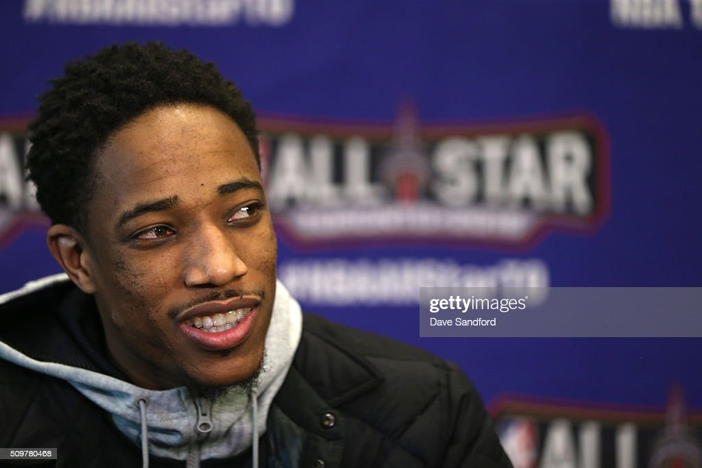 DeMar DeRozan #10 of the Toronto Raptors speaks to the media during media availability as part of 2016 NBA All-Star Weekend at the Sheraton Centre Toronto Hotel on February 12, 2016 in Toronto, Ontario, Canada.