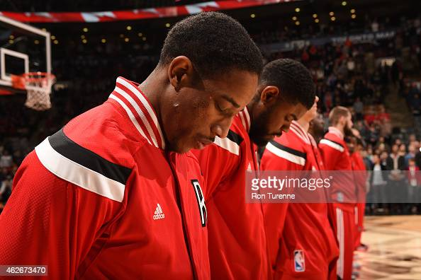 DeMar DeRozan of the Toronto Raptors stands for the national anthem before a game against New Orleans Pelicans on January 18 2015 at the Air Canada...