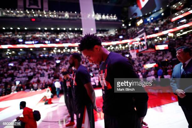 DeMar DeRozan of the Toronto Raptors stands for the National Anthem before Game Four of the Eastern Conference Semifinals of the 2017 NBA Playoffs on...