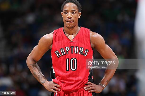 DeMar DeRozan of the Toronto Raptors stands on the court during a game against the Minnesota Timberwolves on April 1 2015 at Target Center in...
