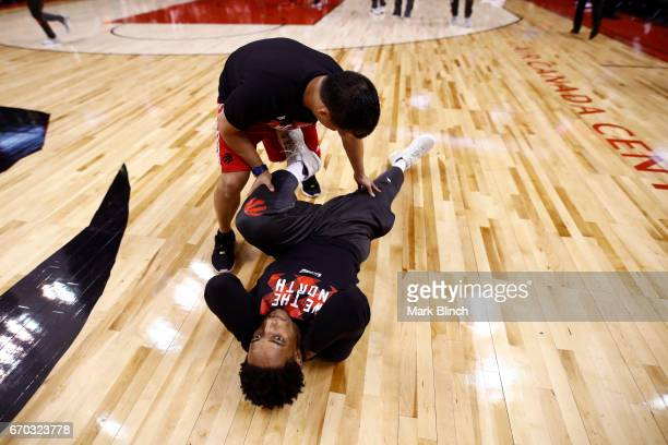 DeMar DeRozan of the Toronto Raptors stretches before Game Two of the Eastern Conference Quarterfinals against the Milwaukee Bucks during the 2017...
