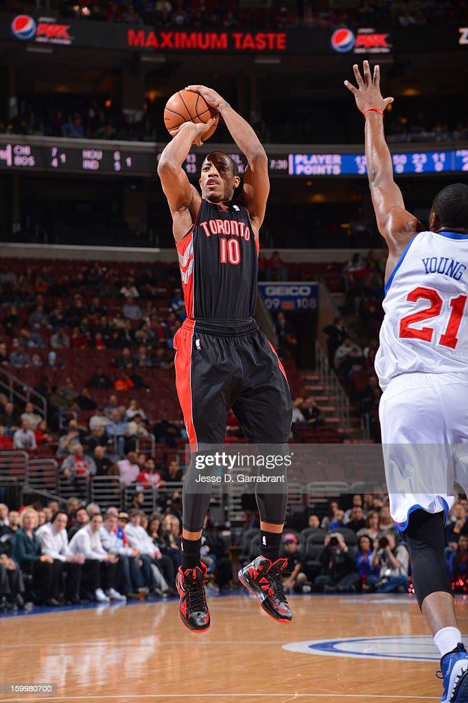 DeMar DeRozan #10 of the Toronto Raptors takes a shot against the Philadelphia 76ers at the Wells Fargo Center on January 18, 2013 in Philadelphia, Pennsylvania.