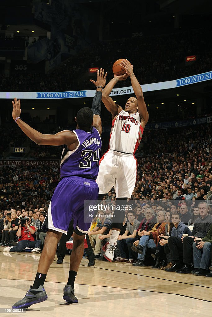 DeMar DeRozan #10 of the Toronto Raptors takes a shot against the Sacramento Kings on January 4, 2013 at the Air Canada Centre in Toronto, Ontario, Canada.