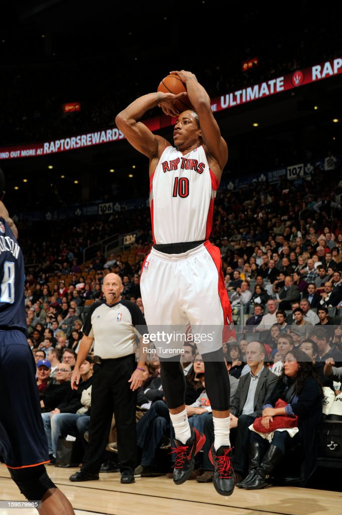 DeMar DeRozan #10 of the Toronto Raptors takes a shot against the Charlotte Bobcats on January 11, 2013 at the Air Canada Centre in Toronto, Ontario, Canada.