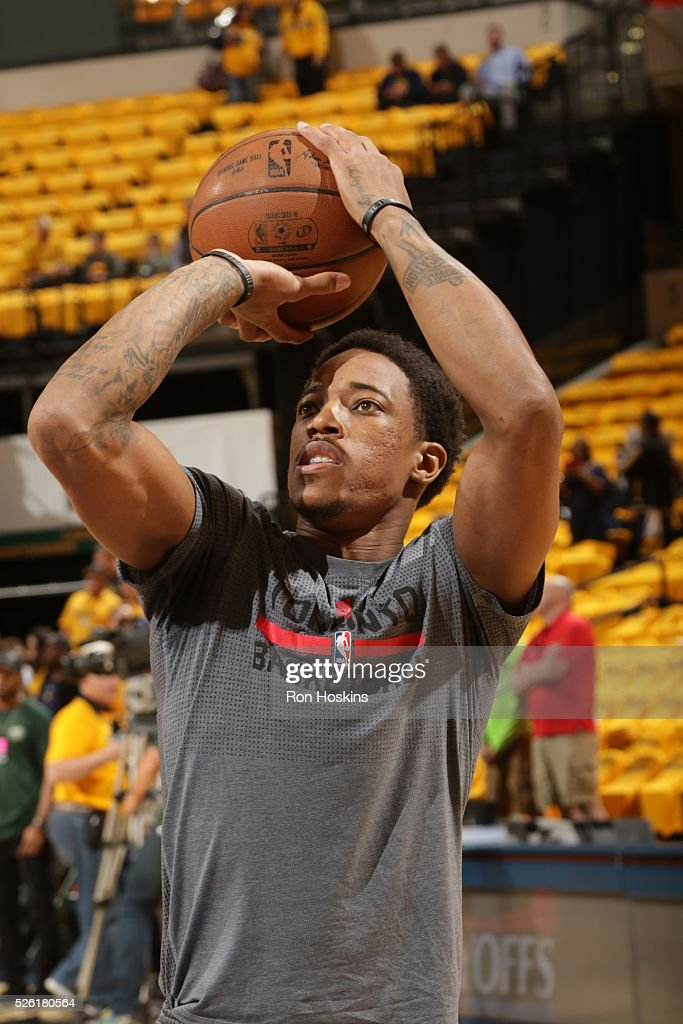 DeMar DeRozan #10 of the Toronto Raptors warms up before the game against the Indiana Pacers in Game Six of the Eastern Conference Quarterfinals during the 2016 NBA Playoffs on April 29, 2016 at Bankers Life Fieldhouse in Indianapolis, Indiana.