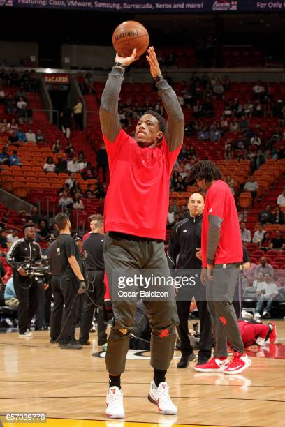 DeMar DeRozan of the Toronto Raptors warms up before the game against the Miami Heat on March 23 2017 at AmericanAirlines Arena in Miami Florida NOTE...