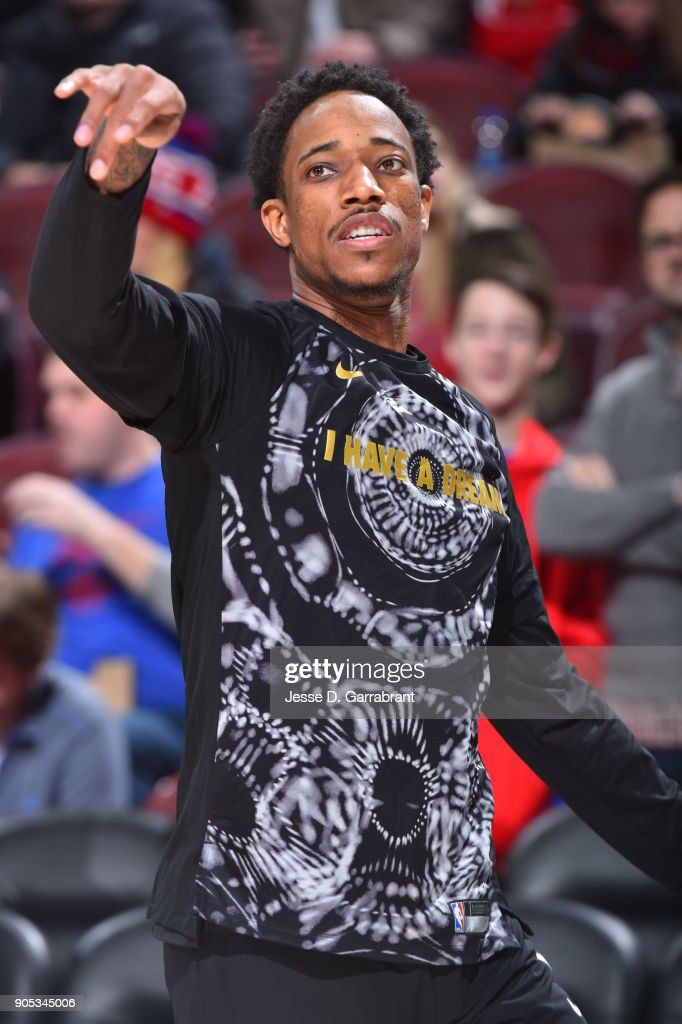 DeMar DeRozan #10 of the Toronto Raptors warms up prior to the game against the Philadelphia 76ers at Wells Fargo Center on January 15, 2018 in Philadelphia, Pennsylvania