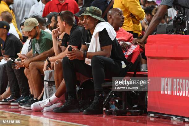 DeMar DeRozan of the Toronto Raptors watches the Los Angeles Clippers play the Los Angeles Lakers on July 7 2017 at the Thomas Mack Center in Las...