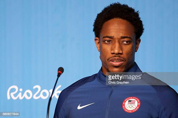 DeMar DeRozan of the United States speaks with the media during a press conference at the Main Press Centre ahead of the Rio 2016 Olympic Games on...