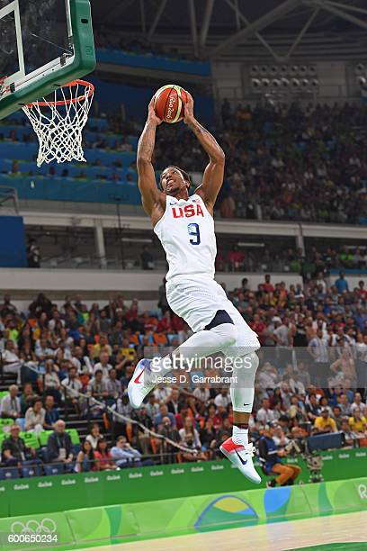 DeMar DeRozan of the USA Basketball Men's National Team goes up for a dunk against Argentina during the Quarterfinals on Day 12 of the Rio 2016...