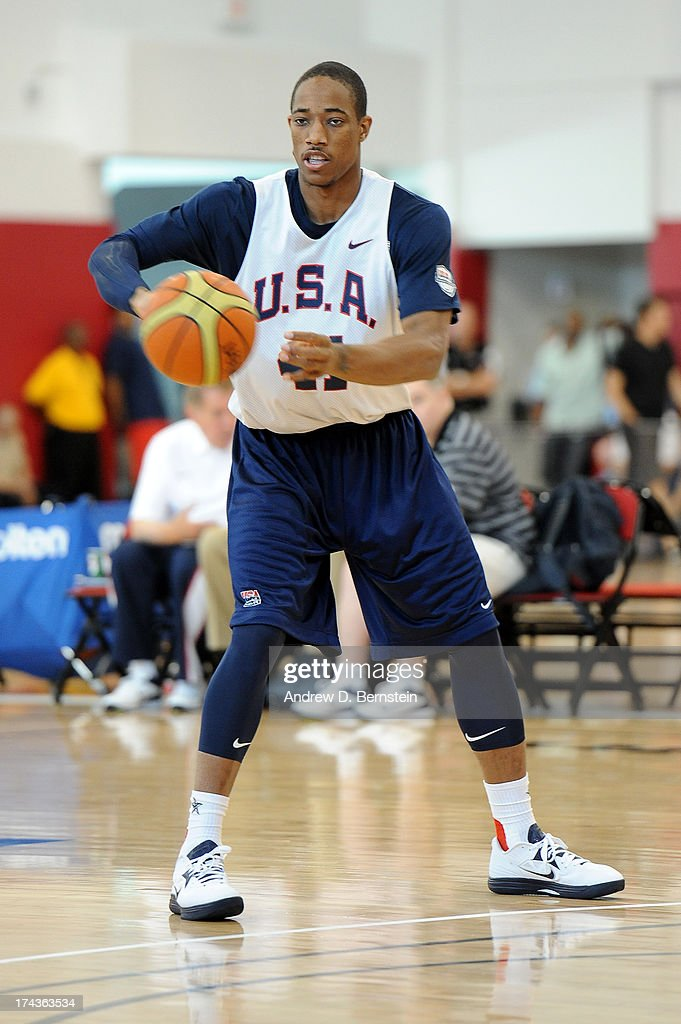 DeMar DeRozan #41 of the USA Basketball Men's National Team throws a pass during practice at Training Camp at the Mendenhall Center on July 24, 2013, in Las Vegas, Nevada.