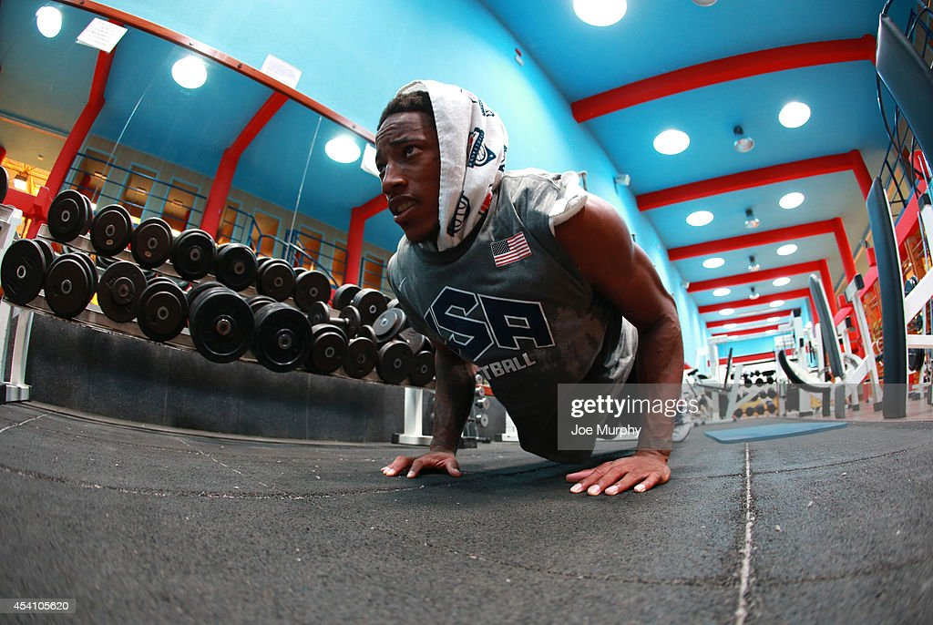 DeMar DeRozan of the USA Basketball Men's National Team works out during practice on August 24 2014 at Pabellon de El Tablero Practice Facility in El...