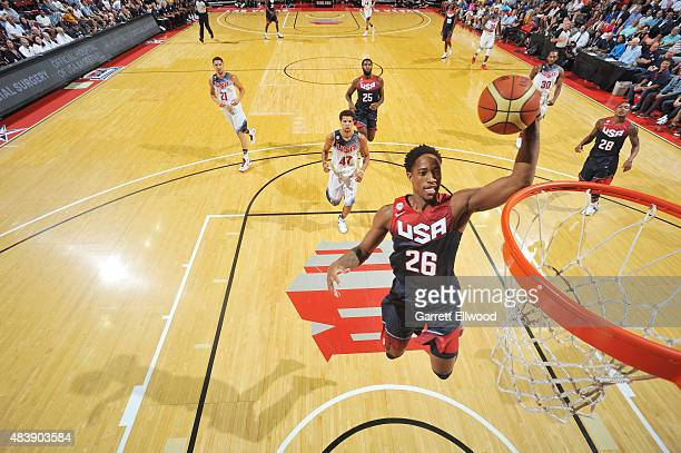DeMar DeRozan of the USA Blue Team goes up for a dunk against the USA White Team during Team USA Basketball Showcase on August 13 2015 at the Thomas...